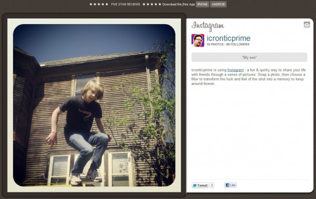 An example of Instagram's web interface