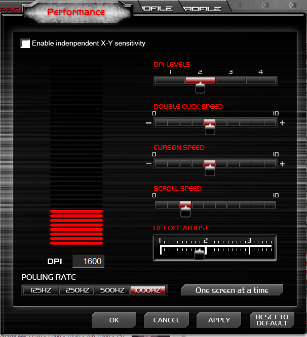 Level 10 M Mouse - Performance GUI
